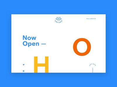 HotCats Website blue white open cats hotdog hot logo design animation ux ui web typography branding