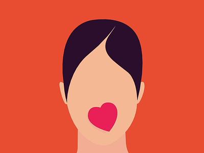 Beating shop orange portrait heart flat illustration branding design game card closer