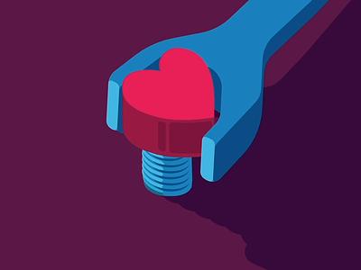 Tight branding shop game closer purple vector flat heart wrench animation illustration design