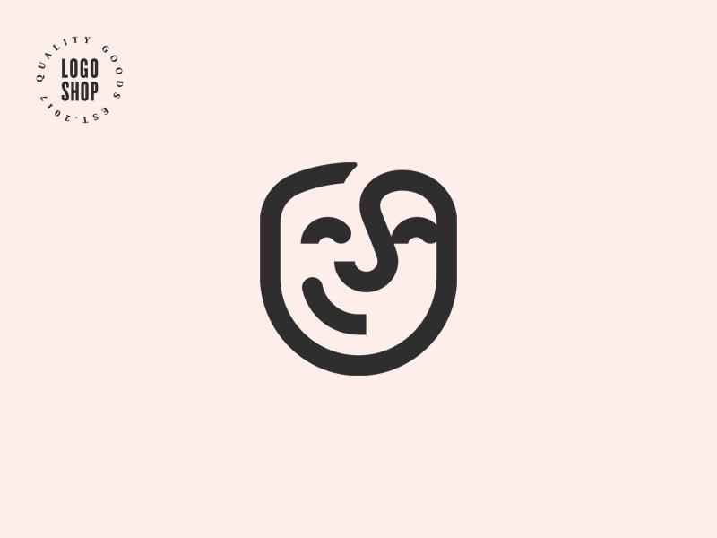 The Logo Shop Pick No.1 top quality premium man face smiling shop logo
