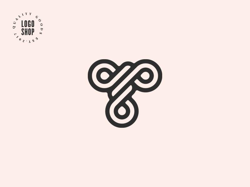 The Logo Shop Pick No.7 top quality premium knotted knot t letter shop logo