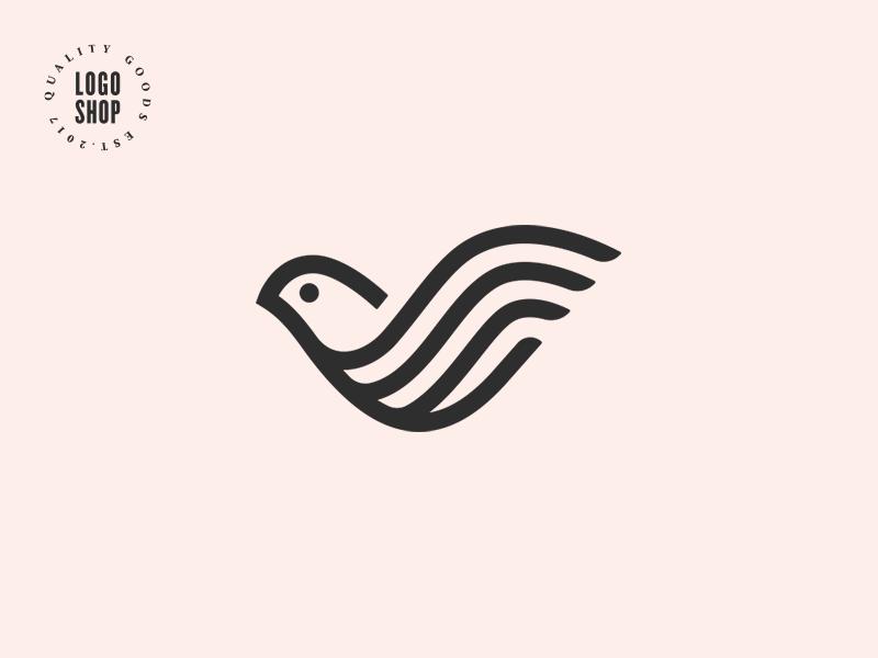 The Logo Shop Pick No.9 top quality premium bird dove shop logo