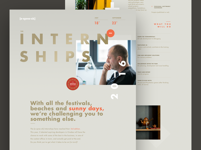 Interships e3 espresoh web 2016 internship