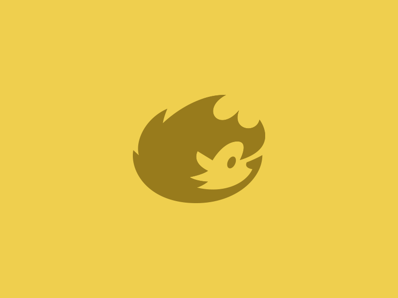 Hedgehog symbol mark logo yellow spike hedgehog