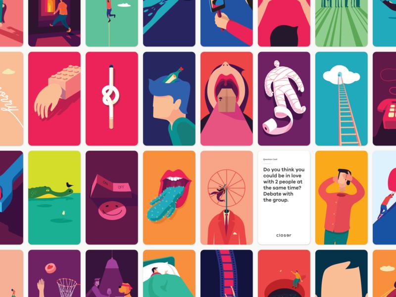 Closer Cards branding design game vector illustration