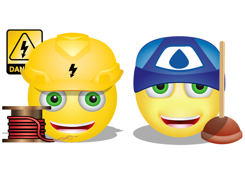 Plumber And Electrician Smilies shock emoticon emoji smiley pipes water toilet plumber power electricity electrician