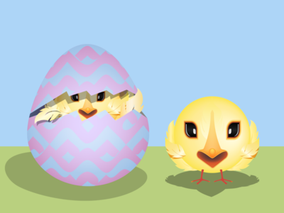 Little Spring Chick in Hatching Easter Egg Smiley