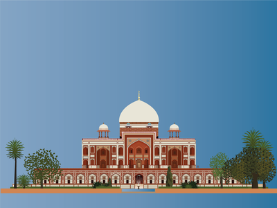 Elevation of Humayun Tomb within Garden