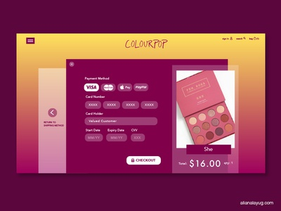 Colourpop Checkout Concept girly cosmetics checkout