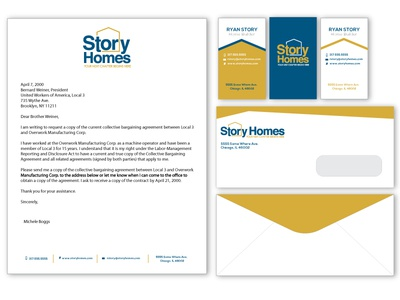 Story Homes stationery remodeling construction house homes pattern chicago branding typography logo