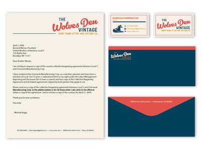 Wolves Den Vintage busines card stationery design indiana design indianapolis branding logo