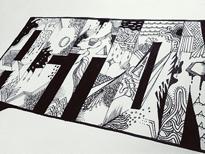 Action Drawing typography drawing black white
