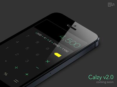 Calzy 2.0 [ Black ] ios 7 calculator calc calzy iphone flat design