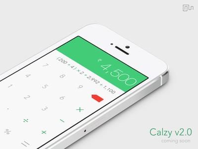 Calzy 2.0 [ White ] ios 7 calculator calc calzy iphone flat design