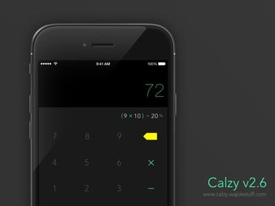 Calzy 2.6 | Black  ios iphone app ui ux clean calculator simple ios8