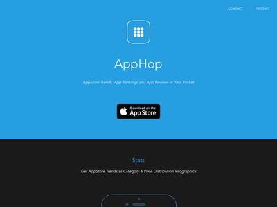 AppHop Website flat minimalist wireframe developer app apple itunes clean iphone ios web website