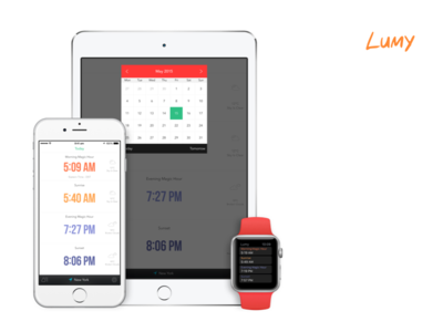 Lumy - Helps You Track Photographic Times sunrise hours magic ipad iphone ios photography flat clean