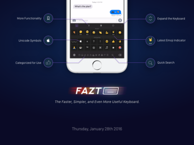 Fazt Keyboard | Features ipad flat mobile minimal app clean ux ui emoji keyboard ios iphone