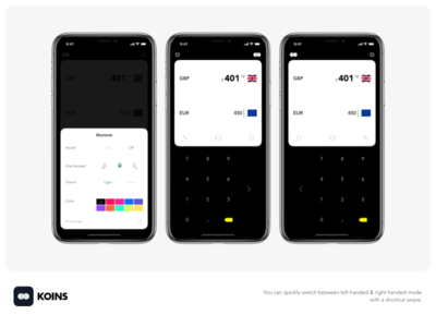 Koins -  left handed & right handed mode ios notch dieter minimalist converter x iphone currency ui flat dark white