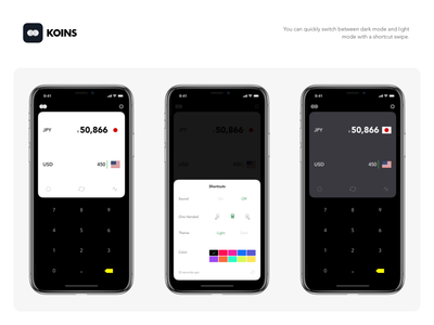 Koins - Light/Dark Mode ios notch dieter minimalist converter x iphone currency ui flat dark white