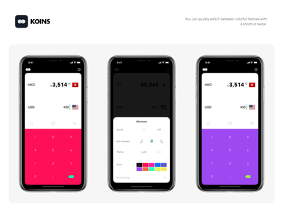 Koins - Colorful Theme white dark flat ui currency iphone x converter minimalist ios notch dieter