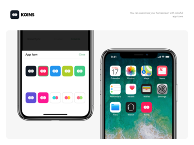 Koins - App Icons white dark flat ui currency iphone x converter minimalist ios notch dieter