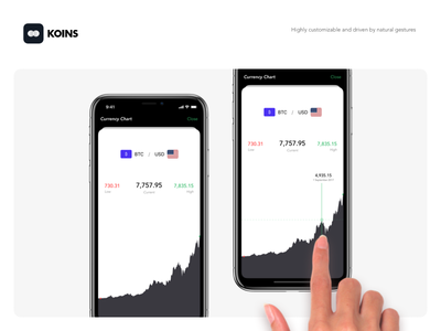 Koins - Historical Charts white dark flat ui currency iphone x converter minimalist ios notch dieter