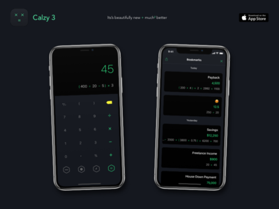 Calzy 3 - The Smart Calculator beautiful simple dark flat ui iphone x minimalist ios apple clean