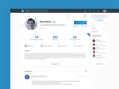 Linked In Profile Redesign minimal app interface redesign ui  ux linkedin