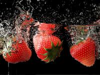 Strawberries under water