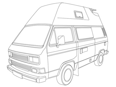 VW BUS T3 CAMPER vw volkswagen bus bulli t3 camper vector vektor illustration