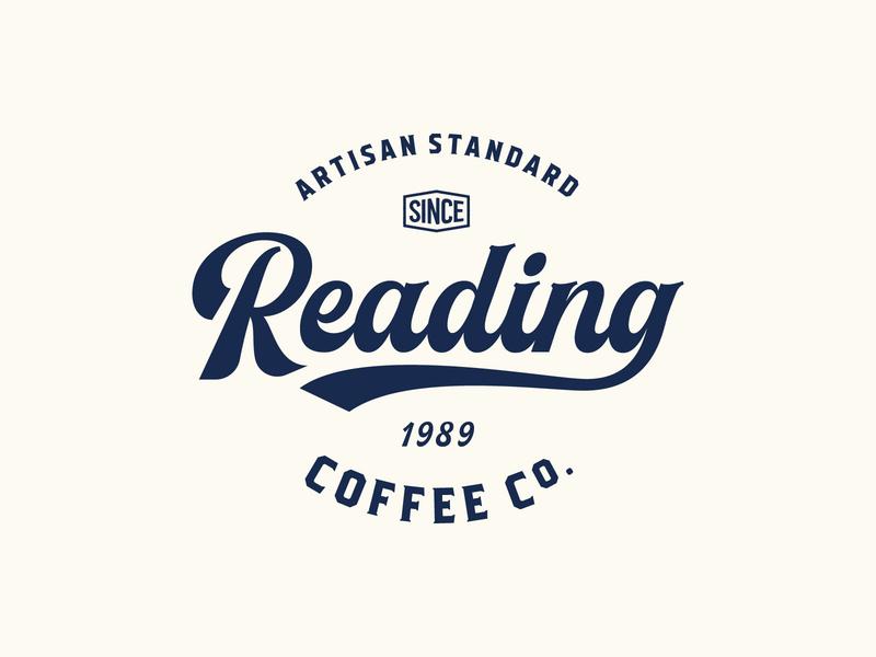 Reading Coffee Company script retro coffee bag branding vintage coffee logo