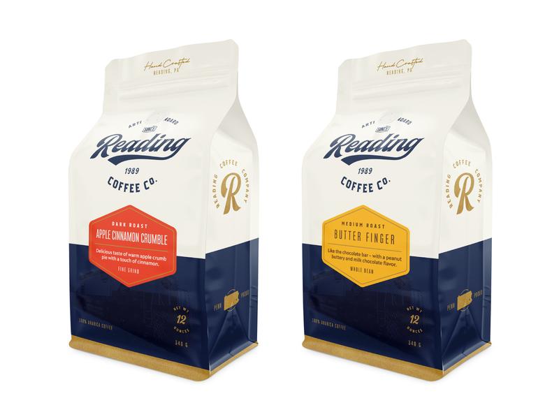 Reading Coffee Co. Packaging blue coffee packaging coffee bag branding vintage packaging design packaging coffee logo