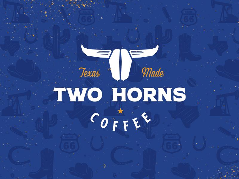 Two Horns Coffee Logo rustic logo design coffee packaging blue branding vintage illustration packaging coffee logo