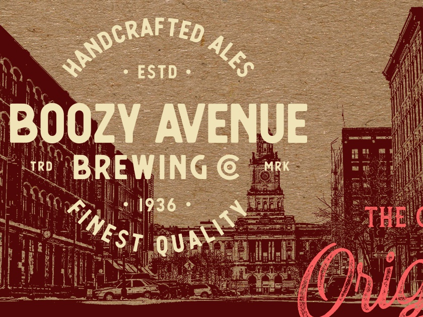 Boozy Avenue Brewing Lockup beer logo logo branding craft brewery craft brew craft beer beer