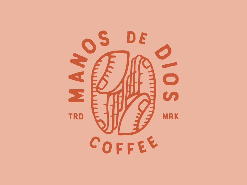 Manos de Dios Logo hand drawn coffee logo coffee bean god hands vintage logo illustration coffee