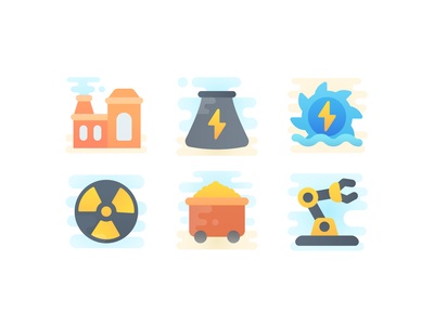 Cute Clipart: Industry industry building power electric icon illustration flat icon set web ux ui design vector illustrator