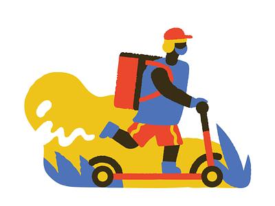 Food Delivery Illustartion delivery scooter corona food illustration flat web ux ui design vector illustrator