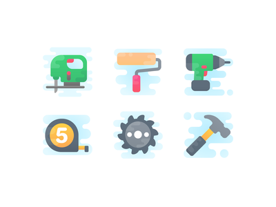 Cute Clipart: Hand Tools diy tools paint roller paint saw hammer drill tape icon flat icon set web ux ui design vector illustrator
