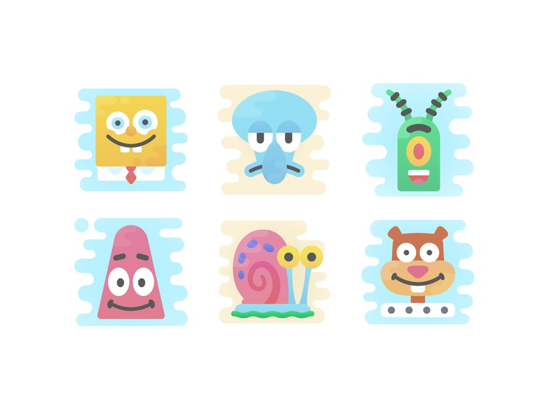 Cute Clipart Icons: SpongeBob Characters cute kids cartoon patrick sandy spongebob illustration icon flat icon set web ux ui design vector illustrator