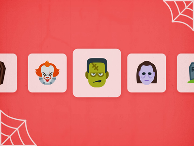Halloween Animated Icons scary old film it clown bat halloween animated gif animation animated motion icon flat icon set web ux ui design vector illustrator