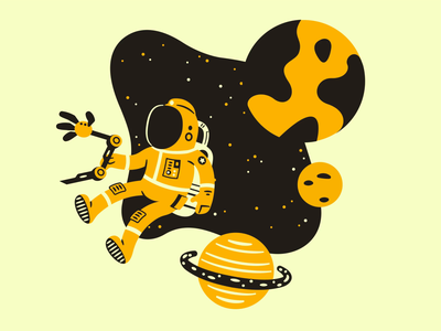 Space Adventures arm robot planet cosmonaut space animation aftereffects illustration animated motion flat web design vector illustrator