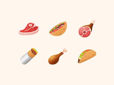 Icons8 Emoji Collection ux ui dishes taco burrito shawarma pork chicken web steak meat food emoji set emoji vector illustrator design