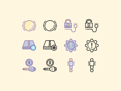 Cute Color and Outline icons: Car Dashboard