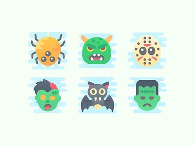 Cute Clipart: Halloween scary monster frankenstein jason voorhees bat zombie halloween spider color web flat ux ui illustration icon set design vector illustrator