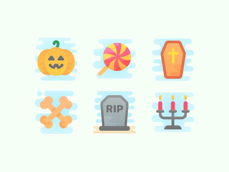 Cute Clipart: Halloween Attributes candle coffin bones headstone candy halloween artist web flat ui ux illustration icon set design vector illustrator