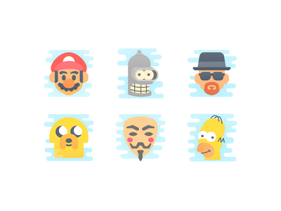Cute Clipart: Characters homer simpsons anonymous heisenberg futurama breakingbad mario game serial multiserial icon set artist web flat ui ux illustration design vector illustrator