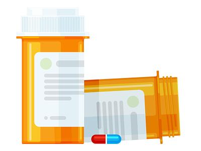 Pill Bottle pills pharmacy medicine prescription drugs illustration figma