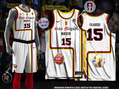 San Miguel Fauxback Jersey Mashup fauxback basketball jersey sports branding jersey design san miguel beermen