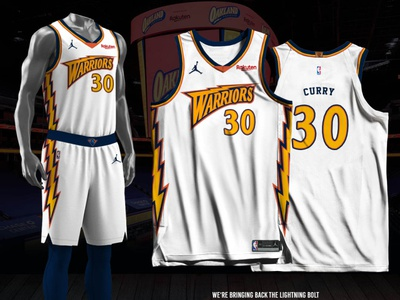 Golden State Warriors - Association - Lightning Bolt jersey design basketball jersey